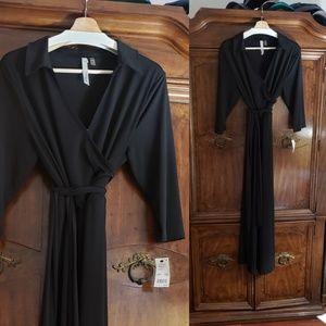 NWT NY Collection black wrap dress size 1x